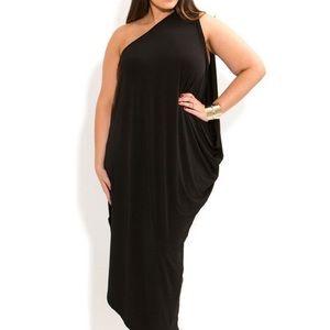 Black one shoulder maxi dress. Toga vibes.